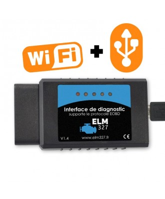 ELM327 USB + WiFi (pour Apple iOS et PC Windows)