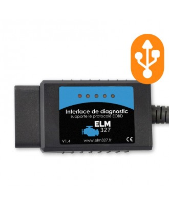 Interface de diagnostic ELM327 USB (compatible PC)